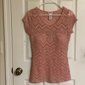 Candie's Pink Lace Round Neck Top w/ Attached Bra
